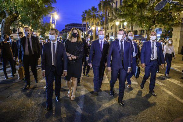 Marlène Schiappa, en compagnie du Président de la République, Emmanuel Macron, du ministre de l'Intérieur, Gérald Darmanin et du ministre délégué au tourisme Jean-Baptiste Lemoyne lors d'une visite présidentielle à Ajaccio, le 10 septembre 2020.