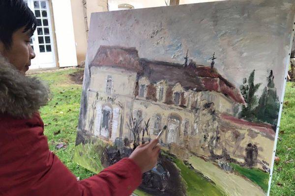 Maître Tan En peignant le château Bel Air