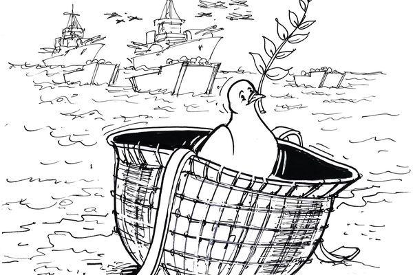 Dessin de Chaunu, extrait de D-Day Histoires mémorables du Débarquement et de la Bataille de Normandie, éd. Armand Colin, 2019