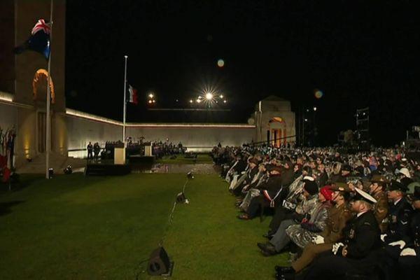 Le mémorial national australien de Villers-Bretonneux lors de l'Anzac Day 2019