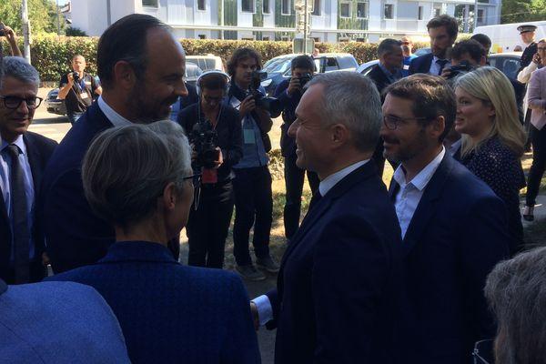 Edouard Philippe accueilli par Elisabeth Borne, François de Rugy et Matthieu Orphelin à Angers le 15 septembre 2018
