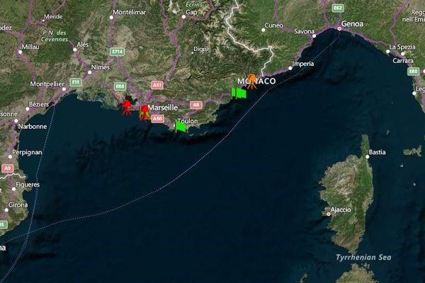 Carte des observations de méduses en mer Méditerranée en temps réel.