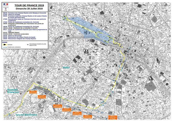Les restrictions de circulation et de stationnement sont appliquées sur le trajet du Tour de France.
