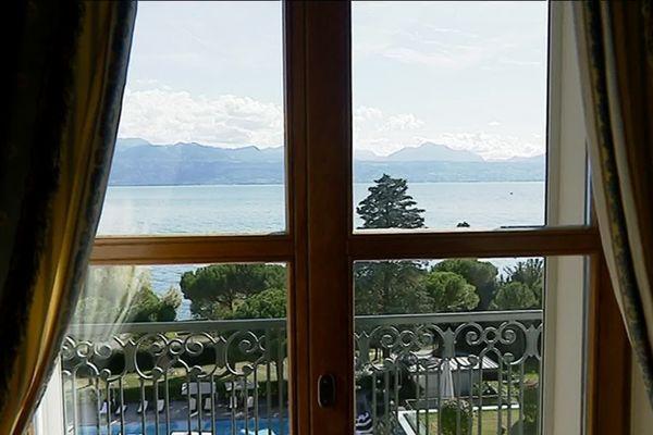 """Thomas Cook avait à l'époque installé un bureau au grand hôtel """"Beau Rivage"""" pour admirer le lac depuis ses fenêtres"""