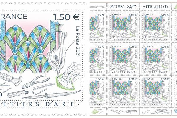 Ce nouveau timbre dédié au métier de vitrailliste a été tiré à 700.800 exemplaires, et est vendu 1,50€ l'unité.