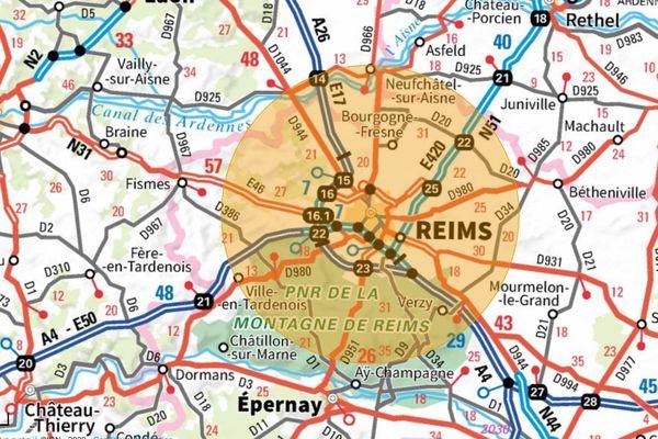 La carte des 20km depuis Reims.