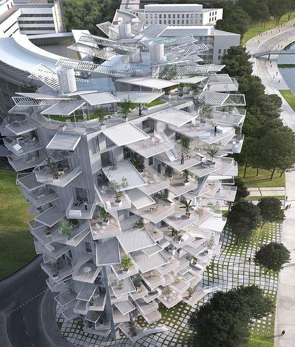 Montpellier - la future tour de Fujimoto, l'Arbre blanc sur les rives du Lez