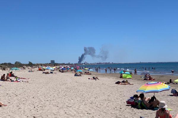 La plage du Petit Travers, dans l'Hérault, ce dimanche à la mi-journée