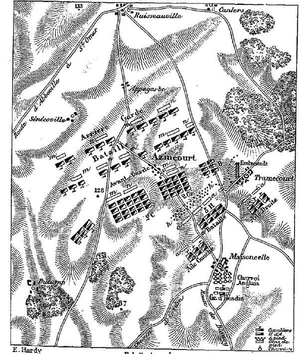 Positions des troupes anglaises et françaises sur le champ de bataille d'Azincourt le 25 octobre 1415.