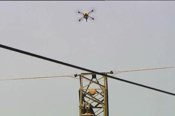 Opération contre les frelons asiatiques menée par un drone ce samedi matin à Decazeville (12)