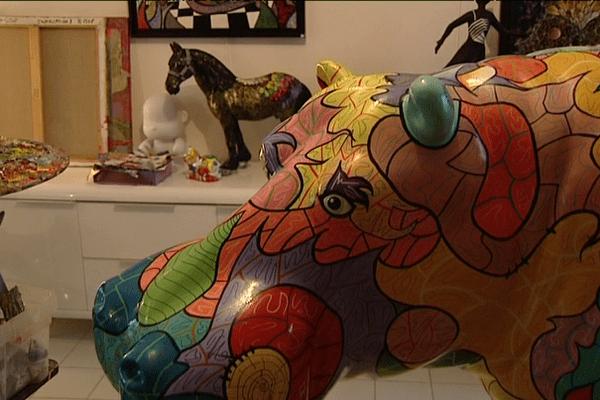 Hippopotame coloré, création de Charlotte et Philippe