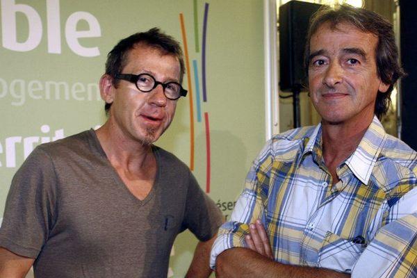 """Les présentateurs de l'émission jeunesse de France 3 """"C'est Pas Sorcier"""" Jamy Gourmaud et Frédéric Courant aka """"Jamy et Fred""""."""