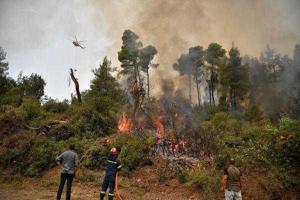 A Olympie ce 5 août, on peut mesurer la difficulté de combattre les flammes et la nature du terrain