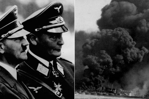 """Hermann Göring, commandant de l'aviation allemande, avait promis à Hitler, de """"détruire les Anglais"""" à Dunkerque. Ce 27 mai 1940, 15 000 bombes incendiaires et 30 000 bombes explosives sont larguées sur la ville."""