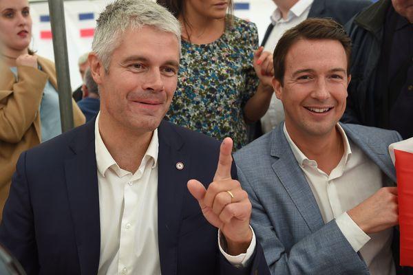 Guillaume Peltier (à droite), en compagnie du président du parti Les Républicains, Laurent Wauquiez.