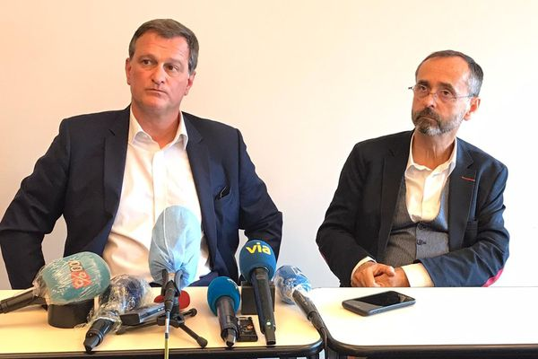 Perpignan - C'est avec le soutien de Robert Ménard que Louis Aliot a présenté son programme à la presse - 11.06.20