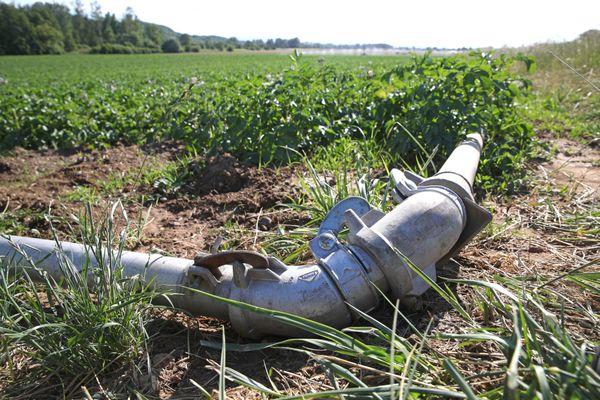 Un système d'irrigation vient pallier le manque d'eau de cette exploitation agricole touchée prématurément par la sécheresse.