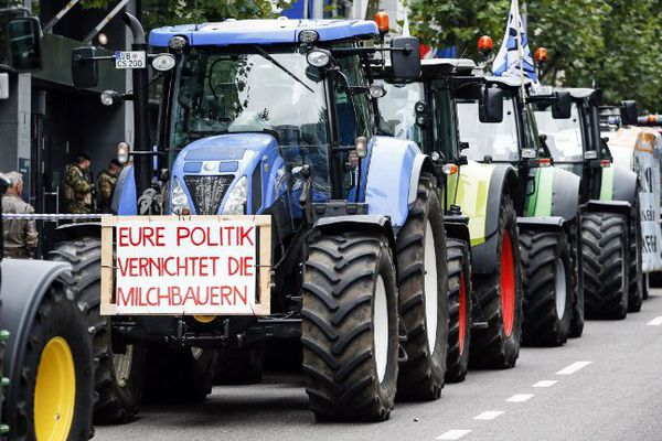 Les agriculteurs manifestent à Bruxelles, ce 7 septembre 2015.