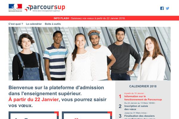 Voici la page d'accueil du site Parcoursup, les voeux pourront être enregistrés à partir du 22 janvier