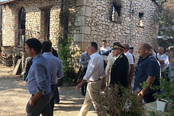 Montfrin (Gard) - le ministre de l'Agricuture, Didier guillaume, en visite après les incendies et la canicule de vendredi dernier - 5 juillet 2019.