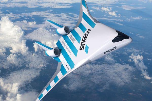 Ce prototype de l'avion du futur est repérable par sa forme : un espèce de V aplati et deux moteurs à l'arrière.