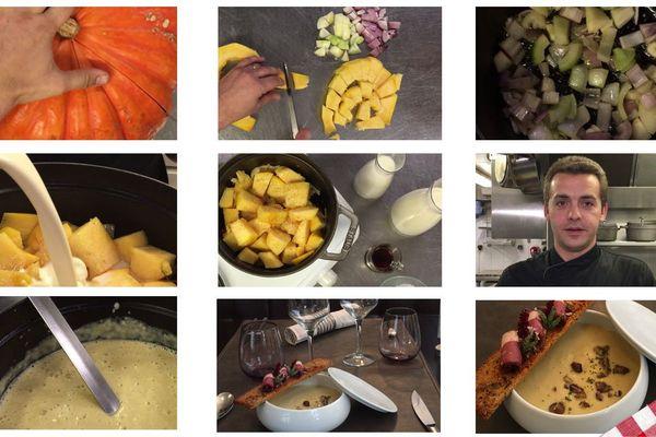 Les étapes de la recette de la crème de potiron à la châtaigne