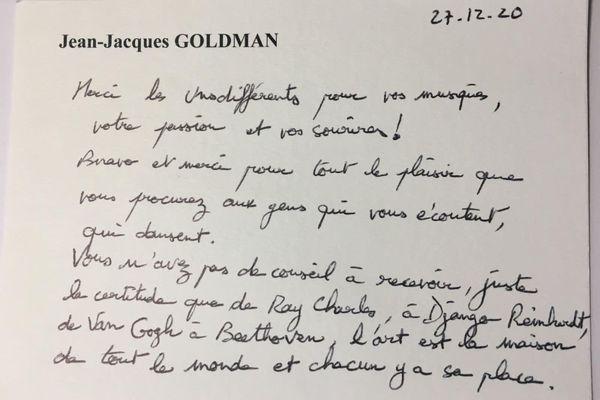 """Extrait de la lettre de Jacques Goldman au groupe """"Les Unsdifférents"""""""
