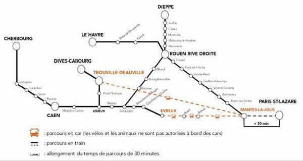 Cette carte résume les principales modifications sur les lignes ferroviaires normandes durant le week-end de l'Ascension