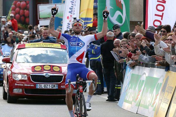 Marc Fournier remporte la première étape du Circuit Sarthe 2016, le 5 avril 2016.