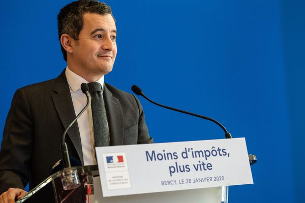 Le 28 janvier 2020 - Conférence de presse du ministre de l'Action et des Comptes publics, Gérald Darmanin, sur le bilan du prélèvement à la source de l'impôt sur le revenu.