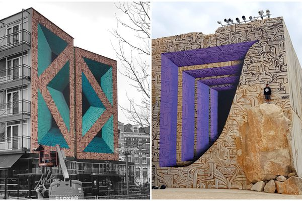 Deux fresques géantes créées par Astro, à gauche à Amsterdam, à droite à Villars