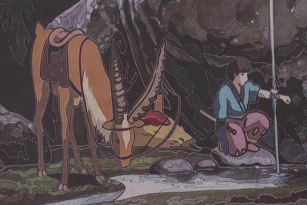 La scène du prince Askitaka soulageant sa blessure, sur le carton de la tapisserie