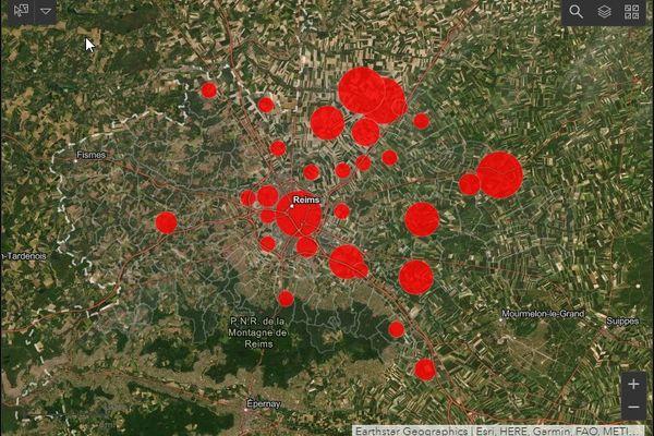 Carte des odeurs dans le Grand Reims