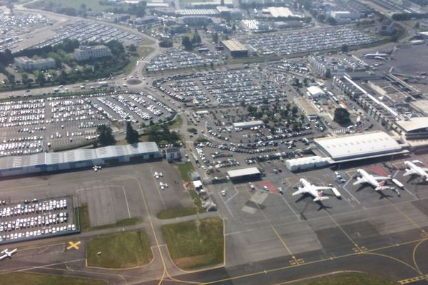 Vu du ciel, l'aéroport de Nantes-Atlantique ne doit plus ressembler à cela... les vols commerciaux étant suspendus.