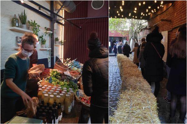 Le restaurant le Bloempot dans le vieux-Lille s'est transformé en marché de producteurs locaux. Une initiative solidaire de Florent Ladeyn pour les soutenir pendant le confinement.