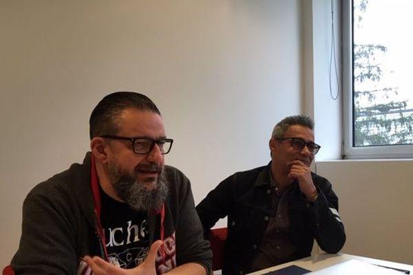 Kem, le programmateur et Jean-Paul Roland, directeur des Eurockéennes de Belfort
