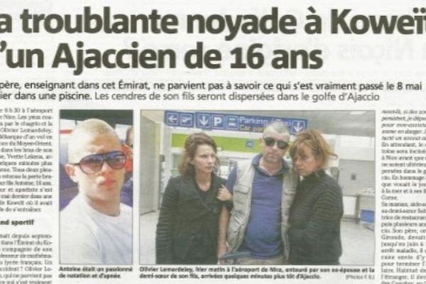"""""""La troublante noyade à Koweït d'un Ajaccien de 16 ans"""" titré Corse-matin, le 16 mai dernier"""