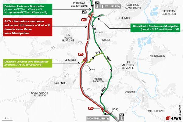 La circulation sera déviée sur l'autoroute A75 près de Clermont-Ferrand.