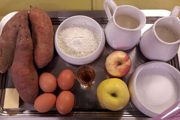 Les ingrédients des coeurs de clafoutis aux pommes et patates douces