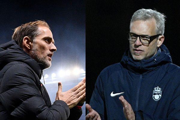 Les entraîneurs du PSG (Thomas Tuchel à gauche) et du FC Pau (Bruno Irles à droite) se retrouvent face à face le 29 janvier 2020 pour la Coupe de France.