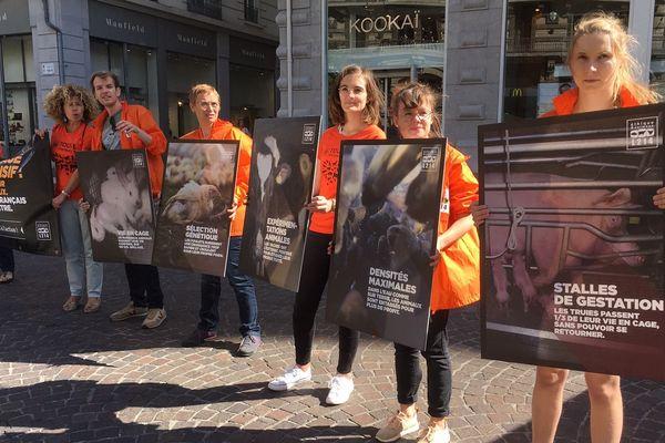 L'association L214 qui milite pour le bien-être des animaux a mené une action dans le centre-ville de Grenoble ce samedi.