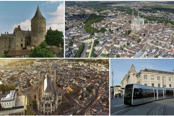 Chateaudun en haut à gauche, Chartres à droite.  Bourges en bas à gauche, et Tours à droite.