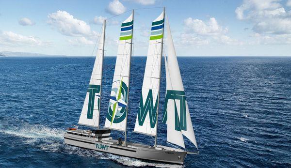 Maquette du voilier cargo en mer