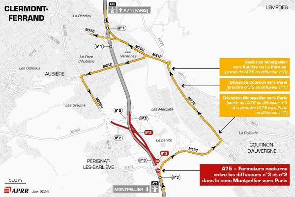 Mercredi 30 juin, la circulation sera déviée sur l'autoroute A75 près de Clermont-Ferrand entre le zénith et le diffuseur d'Aubière.