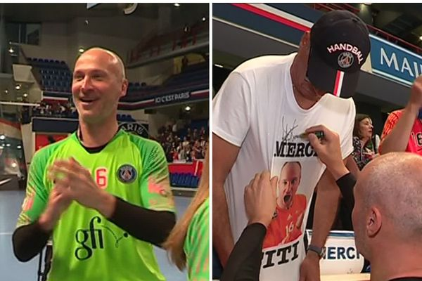 L'émotion était forte au stade Pierre de Coubertin, à Paris, pour le dernier match de Thierry Omeyer avec le PSG.