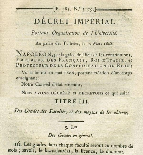 BACC Extrait du décret impérial du 17 mars 1808 portant organisation de l'Université