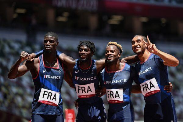 En prenant la 4ème place de leur demi-finale, le relais 4x100m pensait avoir fait le plus dur mais les Marseillais Méba-Mickaël Zézé et Jimmy Vicaut (à droite sur la photo) n'iront pas en finale