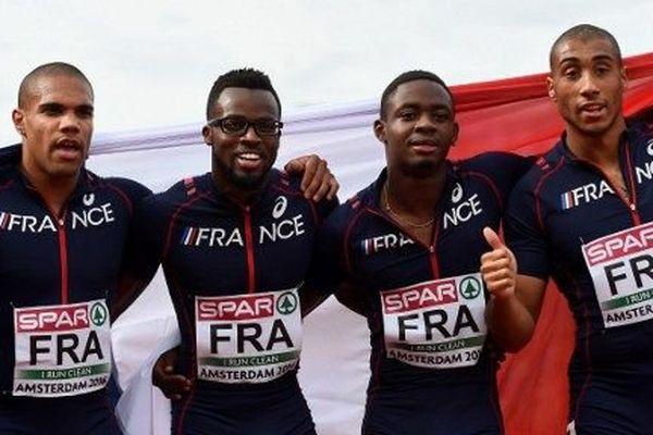 Mickaël Zézé (2ème en partant de la gauche) médaillé d'argent aux championnats d'Europe d'athlétisme à Amsterdam ce dimanche avec le 4 X 100 mètres français