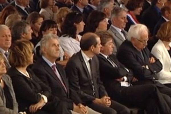 Millas : Damien Alary, candidat PS au poste de président de région, aux obsèques de Christian Bourquin, avec André Vézinhet à sa gauche et André Viola et Jean Paul-Pourquier à sa droite - 29 août 2014.