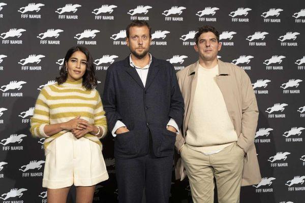 """Ouverture du Festival International du Film Francophone de Namur avec Leïla Bekhti et Damien Bonnard pour le film """"Les intranquilles"""" avec le réalisateur, Joachim Lafosse."""
